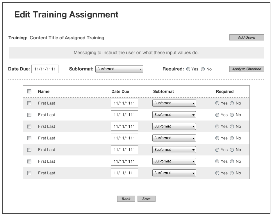Assign Training interface | NST